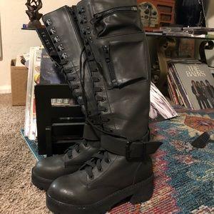 Worn Once Dolls Kill Knee High Black Combat Boots